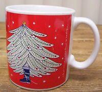 Taylor Ng Joyous Noel Christmas Tree Ski Boot Red Coffee Mug Cup Vintage Japan
