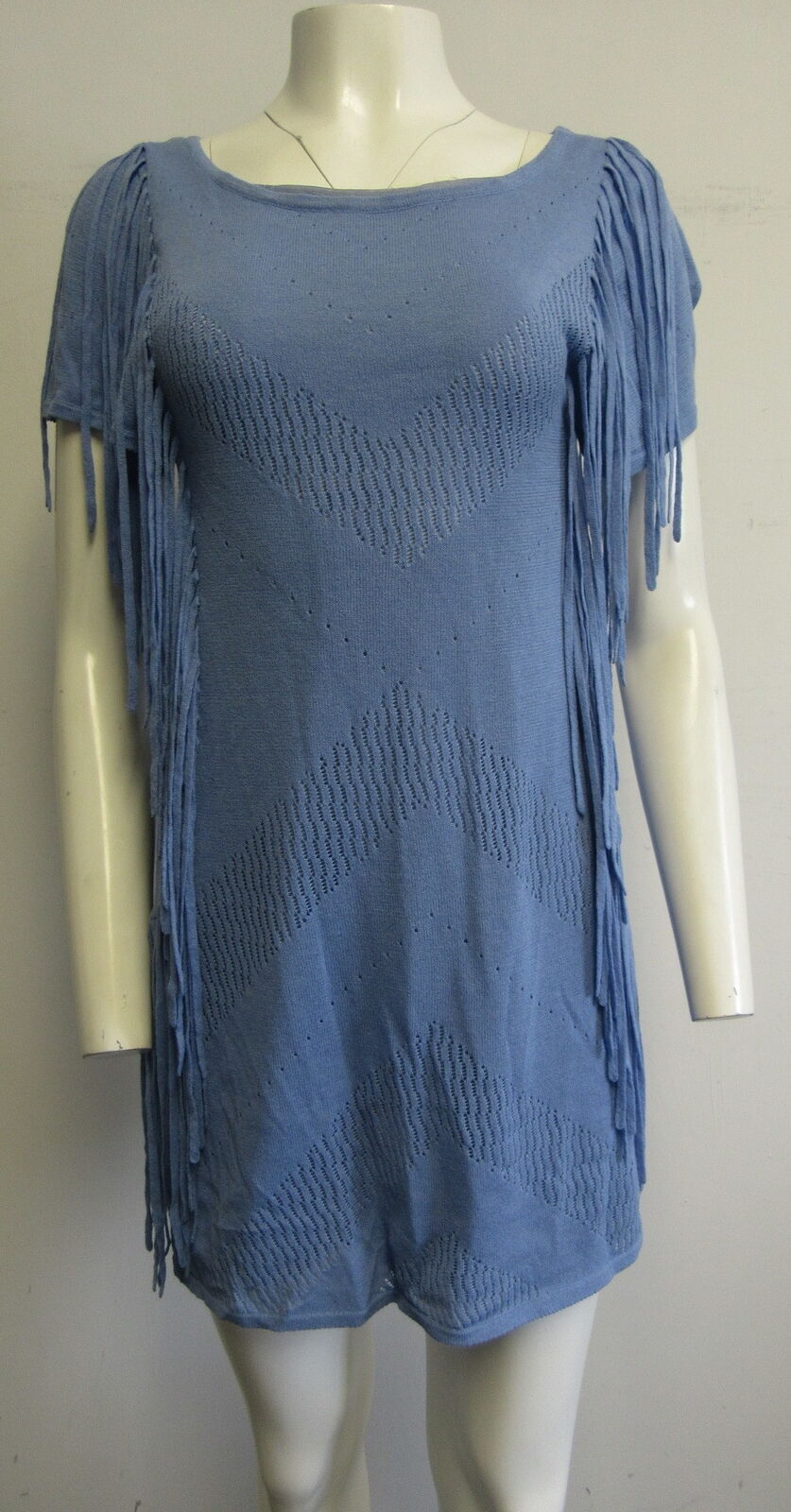 CUT25 periwinkle pointelle knit fringed short- sleeve sheath mini dress sz M
