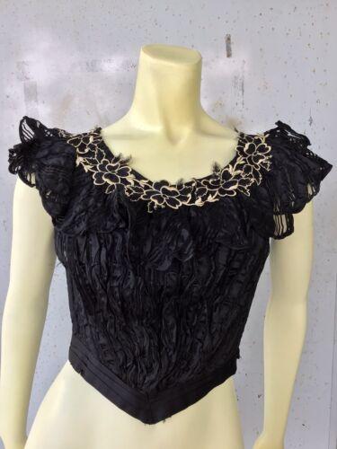 Antique Victorian 1890s 1900s Black Silk Bodice Fo