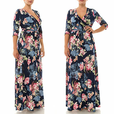 2X PLUS Janette MIDNIGHT BLUE Rose FLORAL Stretch Faux Wrap MAXI DRESS Boho