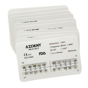 20X-AZDENT-Dental-Orthodonic-Standard-Brackets-Braces-Roth-Slot-0-018-3-Hooks