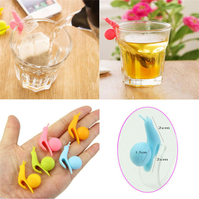 5pcs Cute Snail Shape Silicone Tea Bag Holder Cup Mug Candy Colors Gift Set New