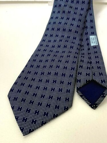 AUTH HERMES Logos Men's Scarf Neck Tie Blue 100% S