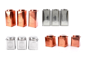 Details About Set Of 3 Coppersilver Tins Tea Coffee Sugar Storage Canisters Jars 2 Sizes