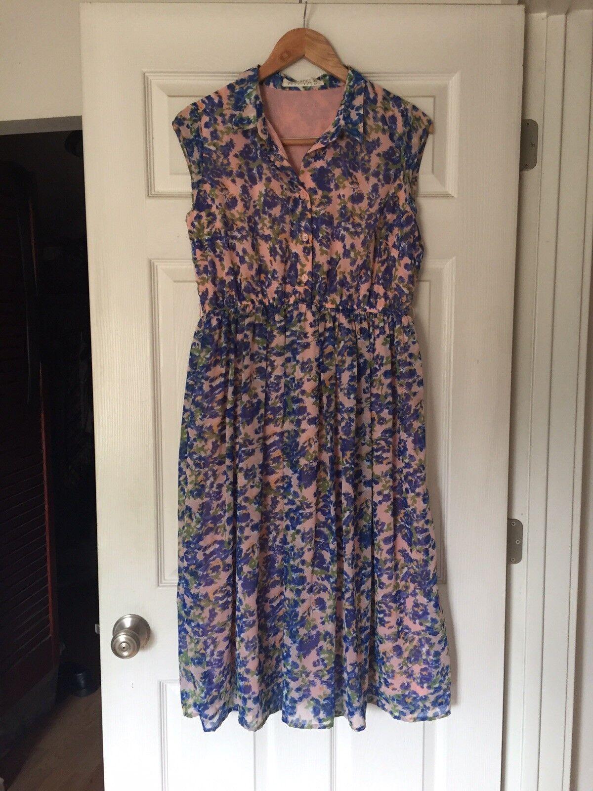 Sugarhill Boutique damen Floral Collarot Shirt Dress Modest Button US 8