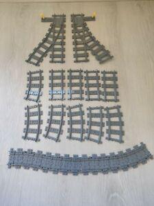 Lot-de-LEGO-City-Rails-Droits-Courbes-et-aiguillages