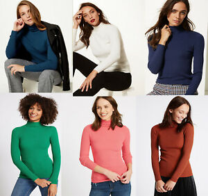 Details about M&S Marks Spencer Women Viscose Ribbed Polo Roll Turtle NECK Jumper Sweater Top