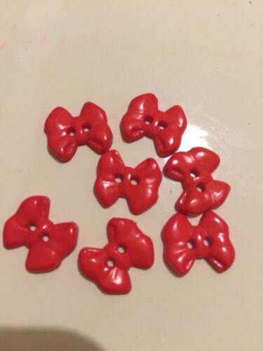 3 Red Bow 1.5cm  Novelty Button For Art Project// Scrapbook Cute