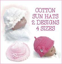 BABY GIRL / REBORN SUN HATS, COTTON DK  KNITTING PATTERN, 2 DESIGNS IN 4 SIZES