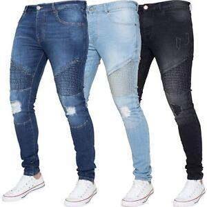 68524f8673f4 Enzo Mens Zip Biker Ripped Jeans Super Skinny Stretch Fit Denim ...