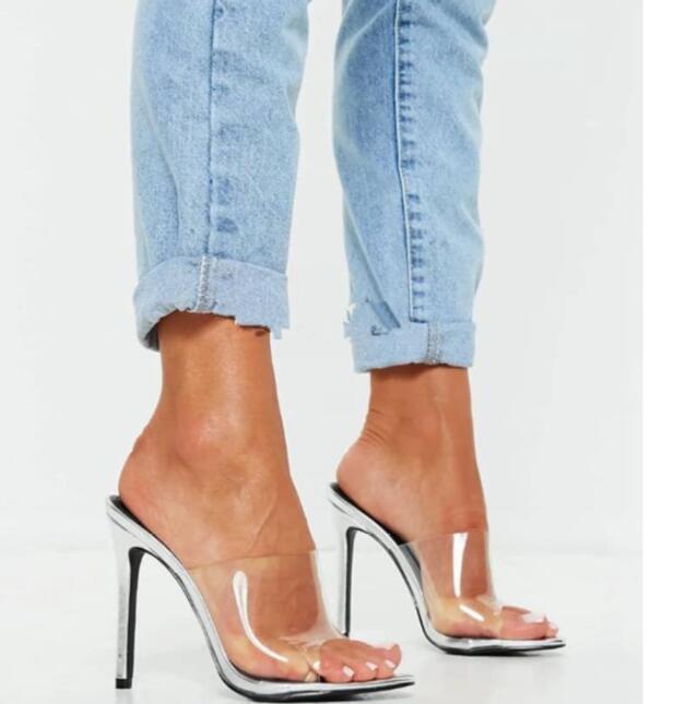 Sexy Fashion Femme Bout Ouvert transparence Pantoufle talon haut Chaussures européenne