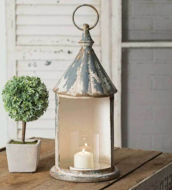Country new large distressed Open Air tin lantern w/glass chimney
