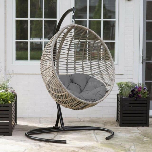 Hanging Chair Set Grey Wicker Egg