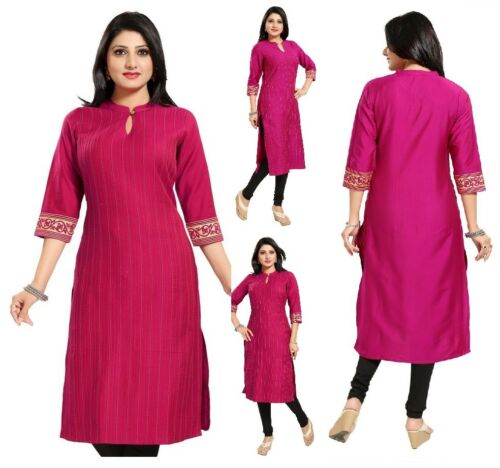 COTTON SILK 3//4 SLEEVE WOMEN FASHION INDIAN KURTA KURTI TUNIC TOP SHIRT MM177