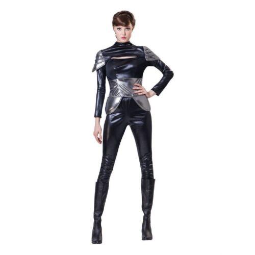 Costume Fancy Dress Womens Ladies Black Outfit Futuristic Womens Spy Lady