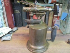 ANTIQUE-BRASS-BLOW-TORCH-EARLY-1900-039-S-ORIGINAL-WHITE-GAS-THE-TURNER-STEAM-PUNK