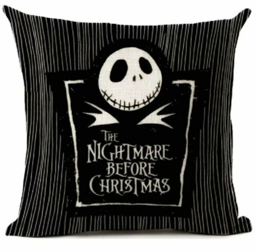 """18/""""x18/"""" Nightmare Before Christmas Throw Pillow Cushion Cover Case Skellington"""