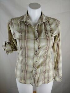 North-Face-Womens-Size-Large-Long-Sleeve-Button-Down-Shirt-Plaid