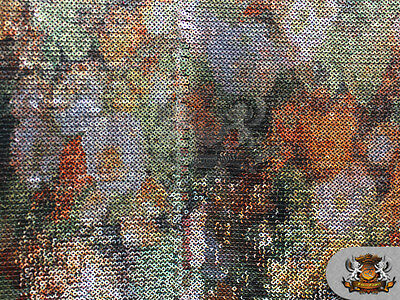 """Sequin Multicolor Print Fabric FLORAL ORANGE / 54"""" Wide / Sold by the yard"""