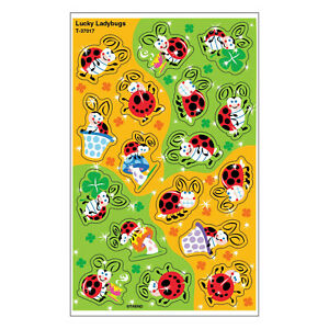Lucky Ladybugs Foil Bright Teacher Reward Stickers -  Fun Incentives