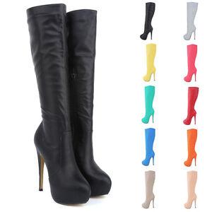 Bottes-Sexy-Aspect-Cuir-Mode-Fashion-Haut-Talon-P35-au-42-NEUVES-10-couleurs