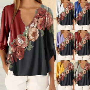Womens-Sexy-Tops-3-4-Bell-Sleeve-V-Neck-Floral-Print-Loose-Tops-Shirt-Blouses