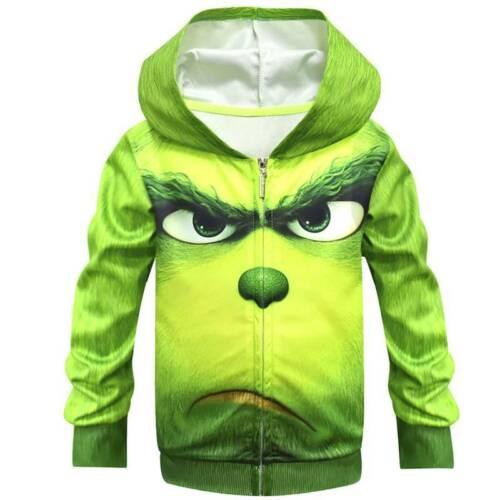 3D Grinch Kinder Kapuzepullover Top Jumpsuit Overall Cosplay Karneval Kostüm Set
