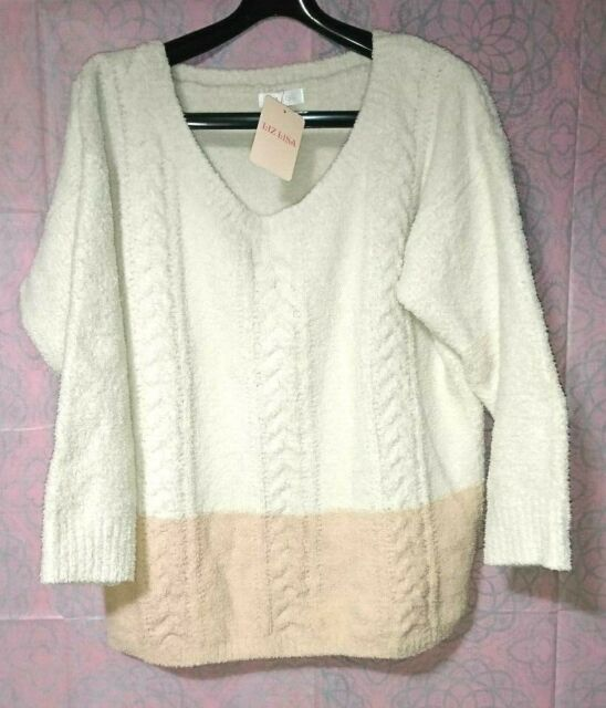 Liz Lisa 2 ton color sweater mokomoko ivory & light orange fluffy warm kawaii