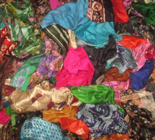 LOT PURE SILK Antique Vintage Sari Fabric 1 KG SMALL PIECES CRAFT 9DAYSHIP DOLL