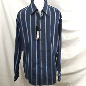 Bruno-Mens-Shirt-Size-L-Dress-Casual-Blue-Striped-Long-Sleeve-Button-Down