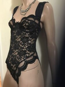 Vintage-Smart-Fancy-Lace-Sexy-Snap-Crotch-Teddy-Romper-Lingerie-Size-34