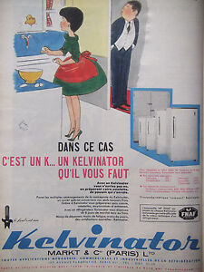 PUBLICITE-PRESSE-1961-REFRIGERATEUR-KELVINATOR-JEAN-BELLUS-ADVERTISING
