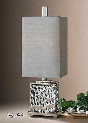 NEW NICKEL PLATED WATER GLASS TABLE LAMP METAL ACCENTS SILVER GRAY SHADE LIGHT