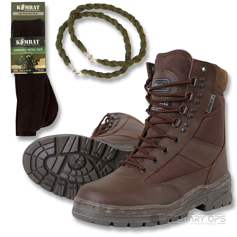 ARMY HALF TROUSER LEATHER COMBAT PATROL botas Marrón CADET WITH TROUSER HALF TWISTS AND SOCKS aa32ac