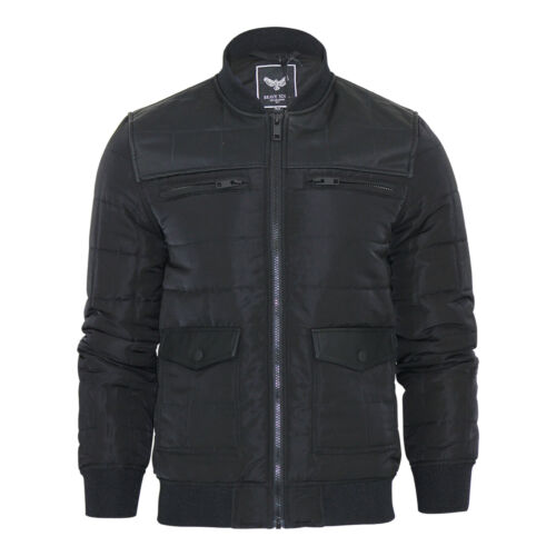 Mens Jacket Brave Soul Smithills Combined PVC Harrington Bomber Coat