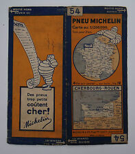 Carte MICHELIN old map FRANCE CHERBOURG ROUEN 1930 Bibendum pneu tyre