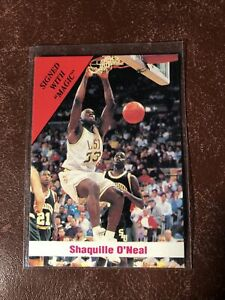 1992 SPORT STARS SIGNED WITH MAGIC SHAQUILLE O'NEAL NRMT LSU TIGERS
