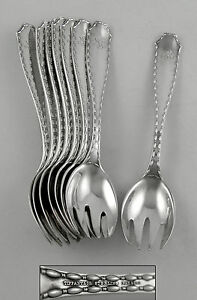 Tiffany-MARQUISE-Sterling-ice-cream-forks-1902-set-of-8
