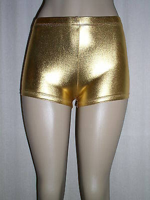 NEW Sexy SHINY GOLD Faux Leather METALLIC Spandex Derby SHORTS - 2X 3X 20 22 24