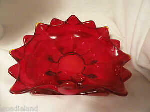 Red-Art-Glass-Folded-Dish-Thick-Amberina-8-034-L-x-5-034-W-Mint