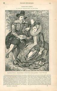 Portrait-de-Rubens-amp-Isabelle-Brandt-par-Pierre-Paul-Rubens-GRAVURE-PRINT-1863