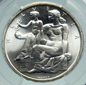 1948-SWITZERLAND-Constitution-Woman-Child-Silver-5-Franc-Swiss-Coin-PCGS-i86648