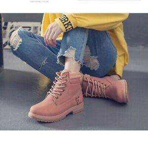 Korean Leather Laceup Suede Boots Pink Beige Black FREE SHIPPING