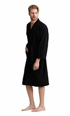 Black Men/'s Bathrobe Medium Lightweight Soft 100/% Cotton Summer Spa Robe Pool M