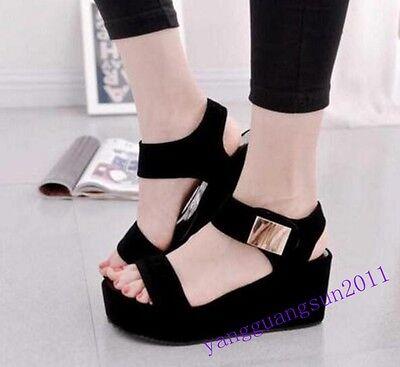 New Fashion Womens Shoes Sandals Wedge Heels Pu Leather Summer High Platform Sz