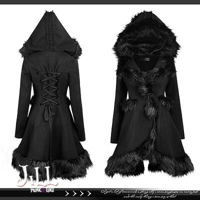 lolita goth aristocrat Winter's War Huntress faux fur trim parka coat LY056