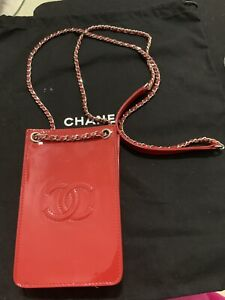 CHANEL Patent Red Leather CC Phone Holder Crossbody Bag Used