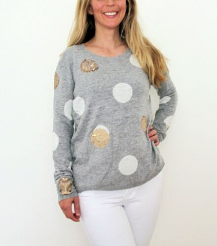 NEW LADIES WOOL POLKA DOT SEQUIN KNIT JUMPER GREY /& NAVY SIZE 8-14 ON SALE