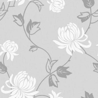 Riva Modern Fl Wallpaper Grey White