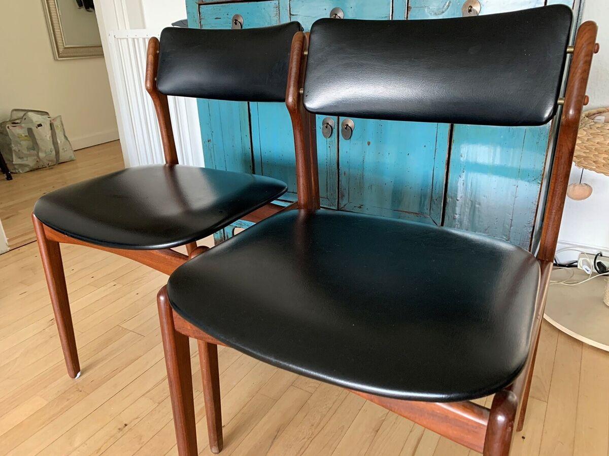Spisebordsstol, Massiv teaktræ, Erik buck, 2 Erik Buck st